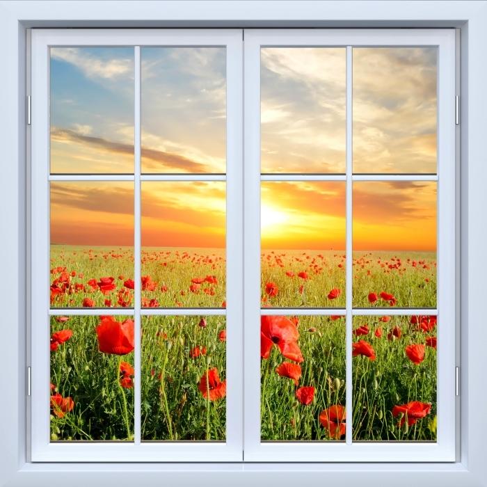 Papier peint vinyle Blanc fenêtre fermée - Champ de coquelicots - La vue à travers la fenêtre