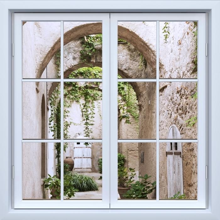 Vinyl Fotobehang White closed window - Arcade - Uitzicht door het raam