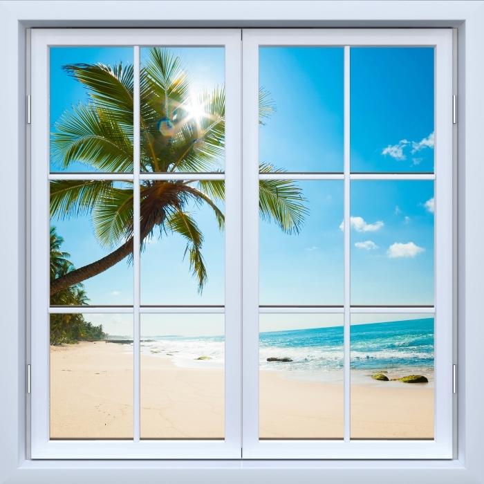 Vinyl Fotobehang White closed window - Tropisch strand - Uitzicht door het raam