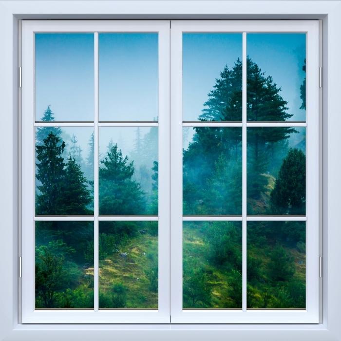 Vinyl Fotobehang White closed window - Fog - Uitzicht door het raam