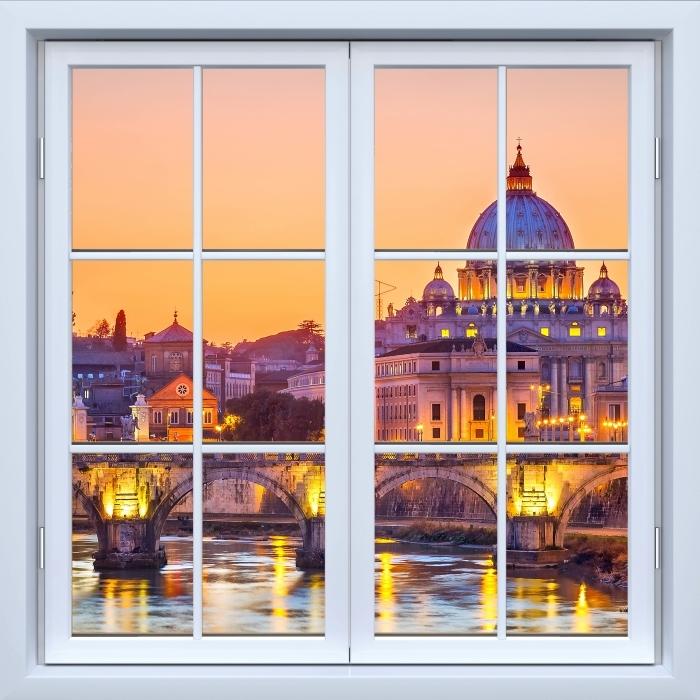 Papier peint vinyle Blanc fenêtre fermée - Cathédrale Saint-Pierre. Rome - La vue à travers la fenêtre