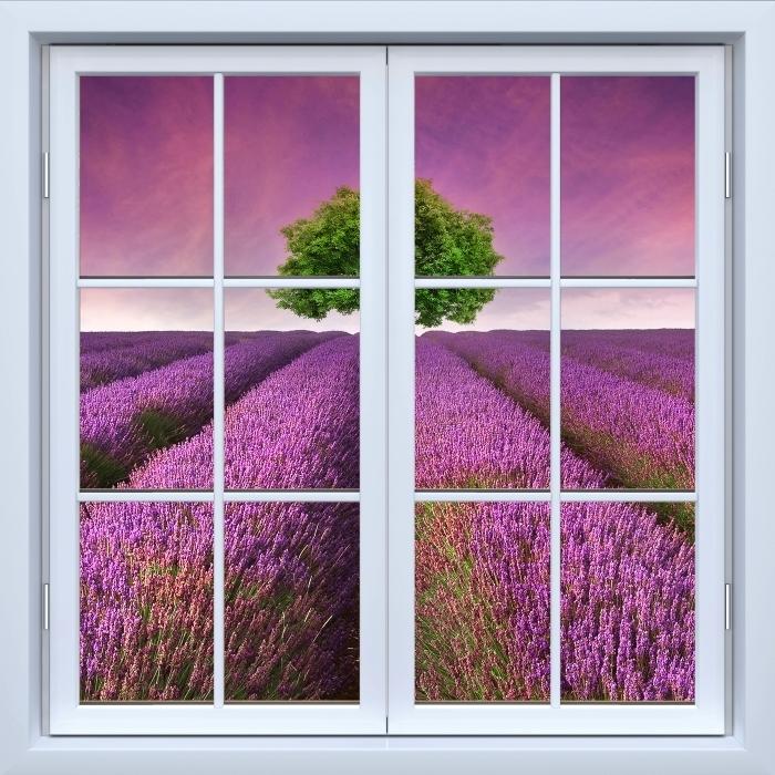 Vinyl-Fototapete Weiß geschlossene Fenster - Sommerlandschaft - Blick durch das Fenster
