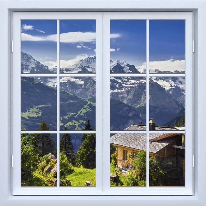 Papier peint vinyle Blanc fenêtre fermée - Montagne - La vue à travers la fenêtre