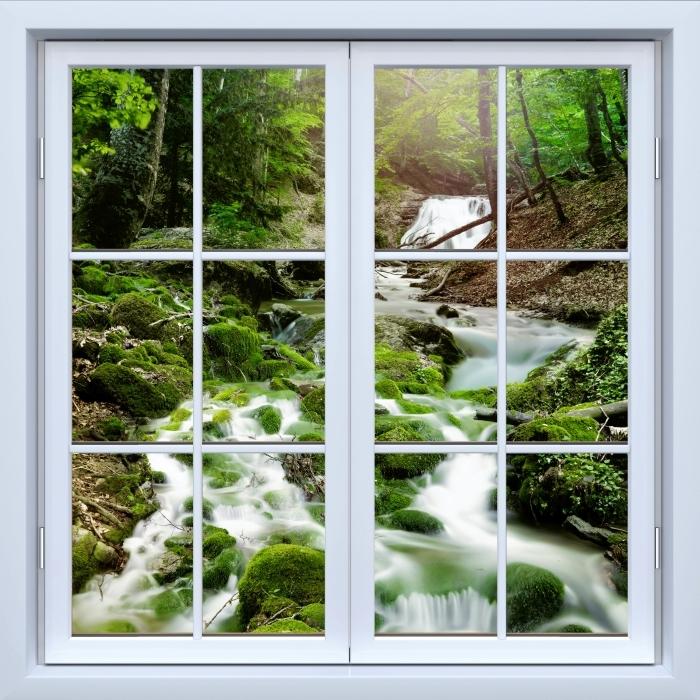 Carta da Parati in Vinile Bianco finestra chiusa - Foresta e cascata - Vista attraverso la finestra