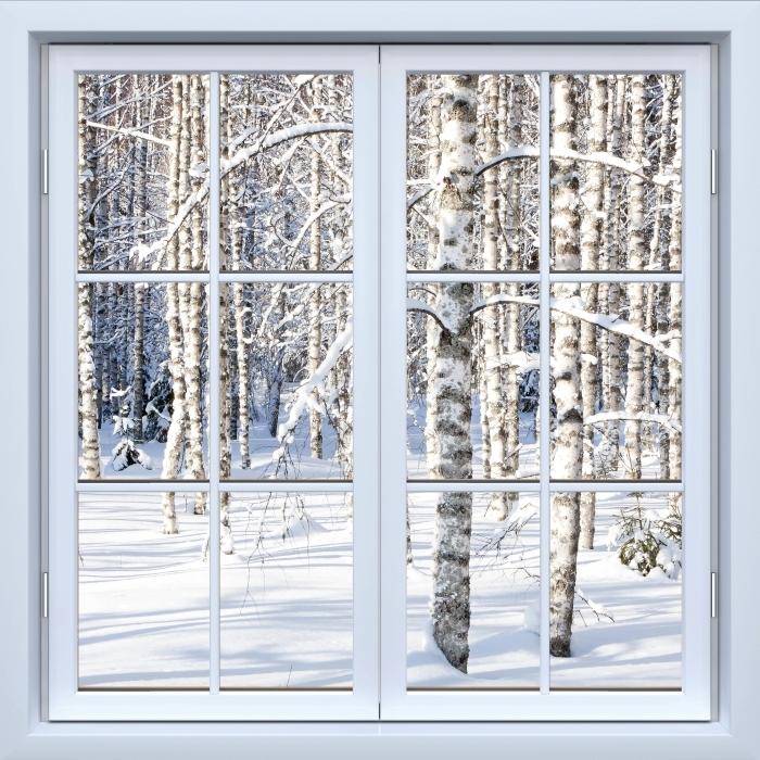 Fototapeta winylowa Okno białe zamknięte - Śnieżne brzozy - Widok przez okno