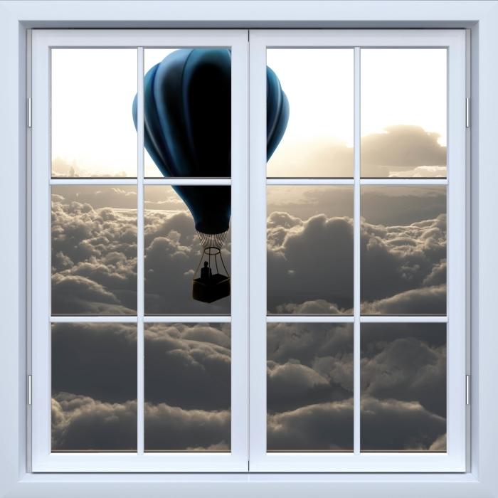 Fototapeta winylowa Okno białe zamknięte - Balon na niebie - Widok przez okno