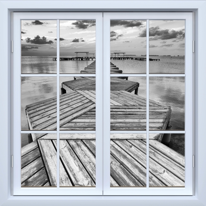 White window closed - Marina Vinyl Wall Mural - View through the window