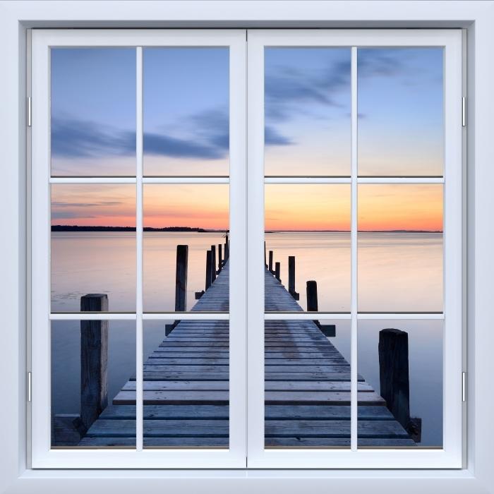 Vinyl Fotobehang White closed window - Pier - Uitzicht door het raam