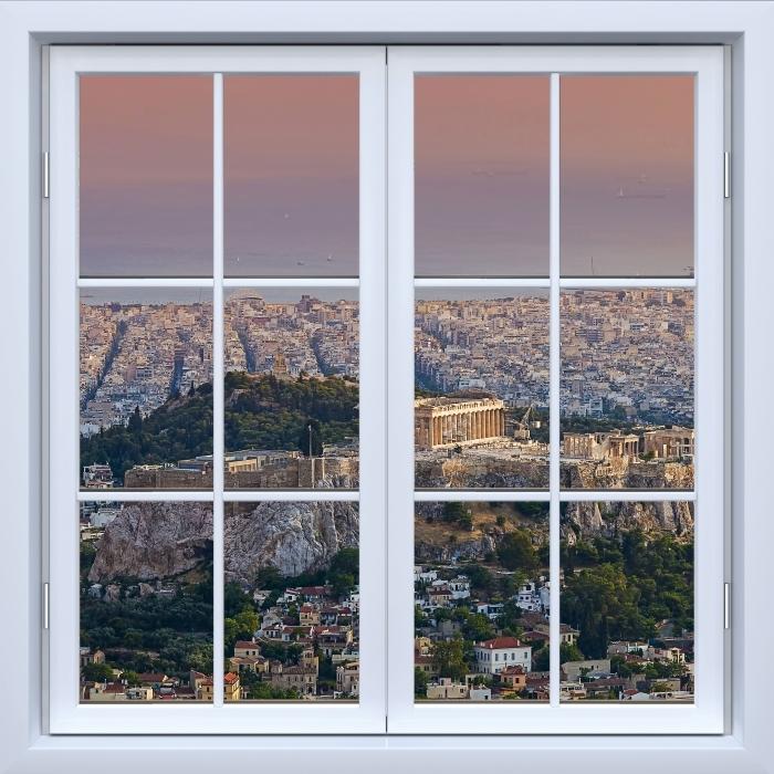 White closed window - Parthenon. Greece Vinyl Wall Mural - View through the window