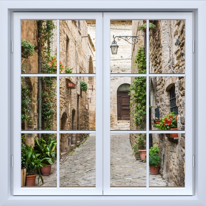 Vinyl Fotobehang White raam gesloten - Italië - Uitzicht door het raam