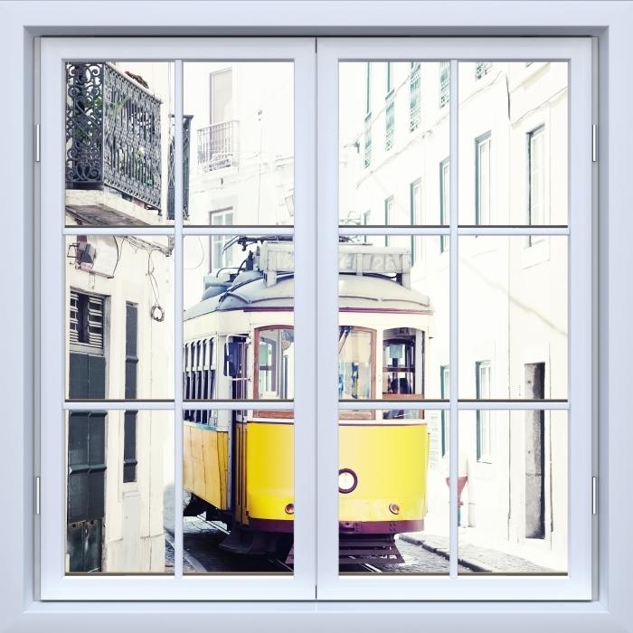 Vinyl-Fototapete Weiß geschlossen Fenster - Lissabon - Blick durch das Fenster