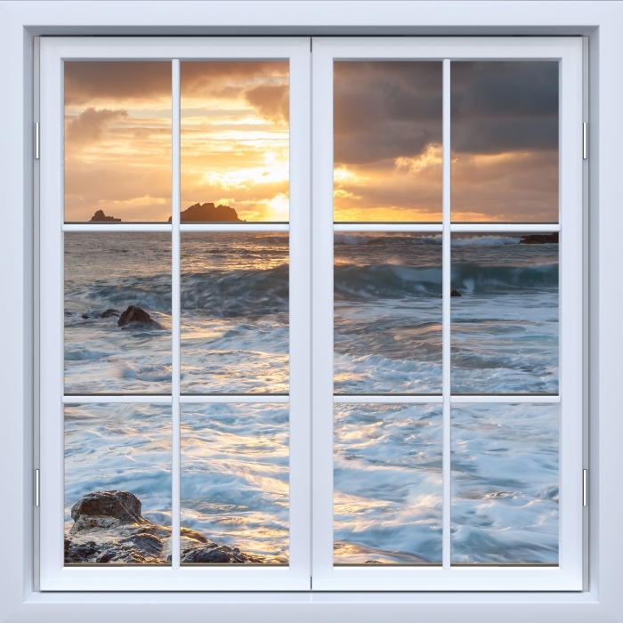 White closed window - United Kingdom Vinyl Wall Mural - View through the window