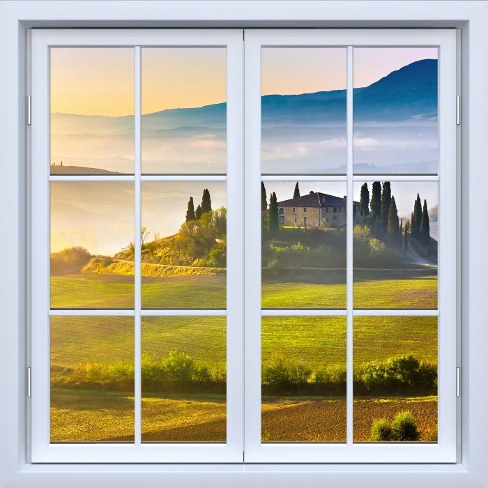 Fototapeta winylowa Okno białe zamknięte - Toskania o świcie - Widok przez okno