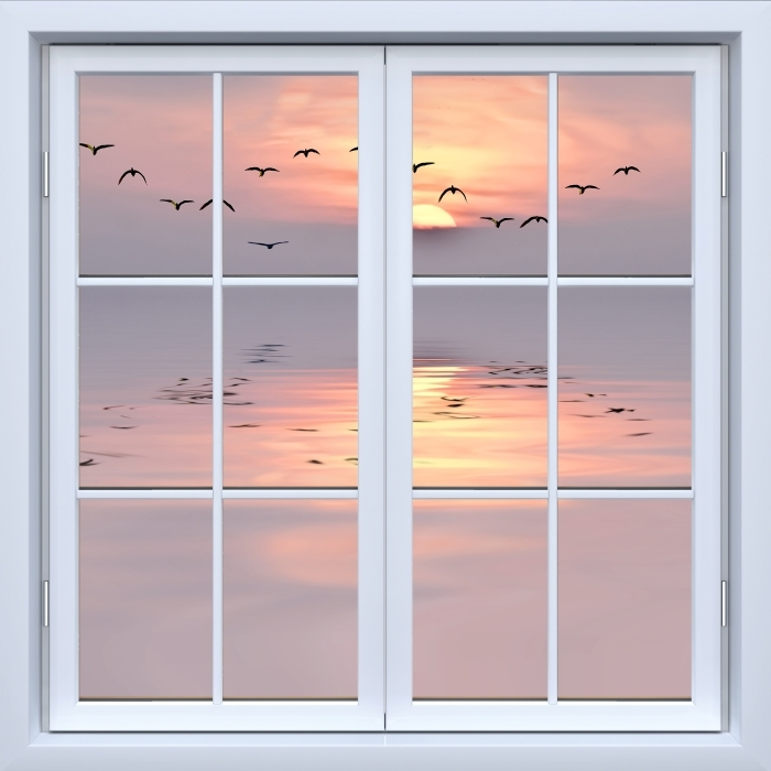 Vinyl Fotobehang White closed window - Sunset - Uitzicht door het raam