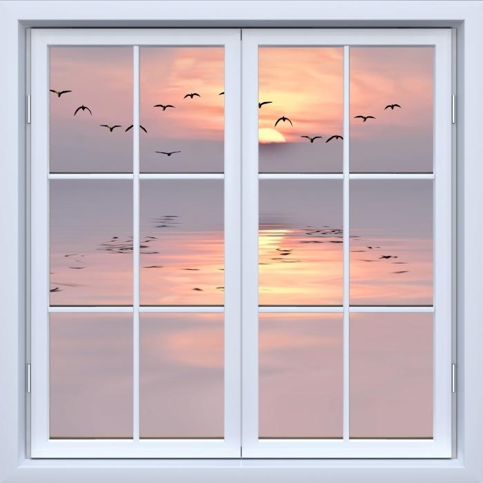 Fotomural Estándar Blanco ventana cerrada - la puesta del sol - Vistas a través de la ventana