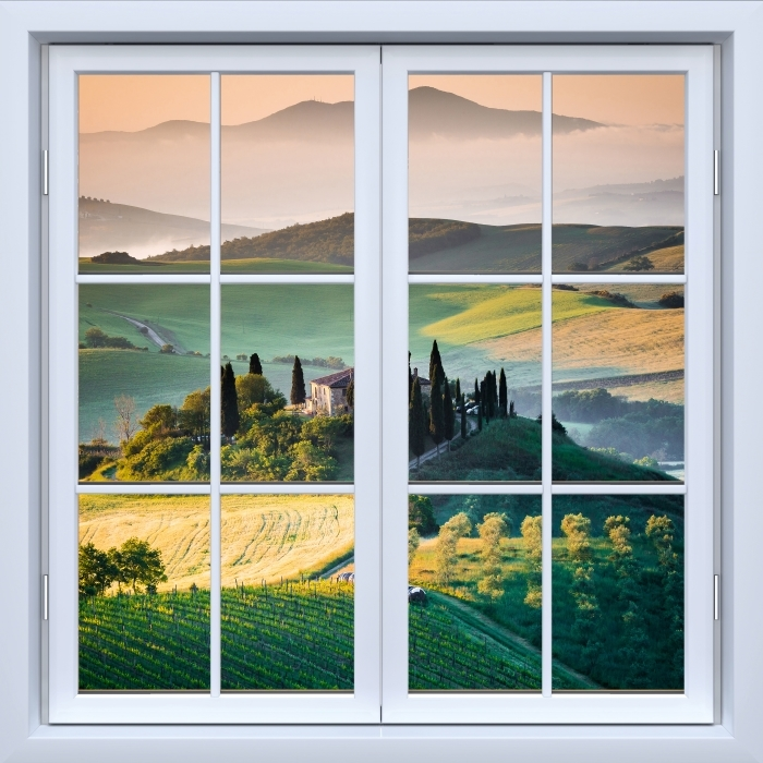 Fototapeta winylowa Okno białe zamknięte - Toskania - Widok przez okno