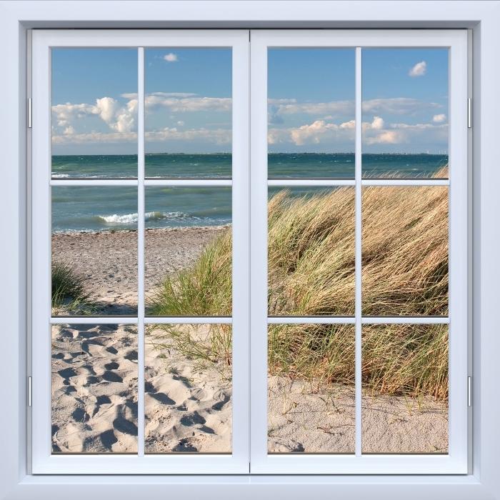Papier peint vinyle Blanc fenêtre fermée - Mer - La vue à travers la fenêtre