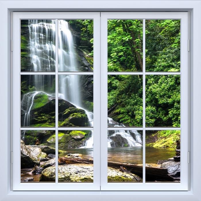 Fototapeta winylowa Okno białe zamknięte - Wodospad w lesie - Widok przez okno