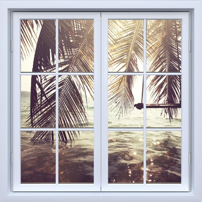 Papier peint vinyle Blanc fenêtre fermée - plage tropicale - La vue à travers la fenêtre