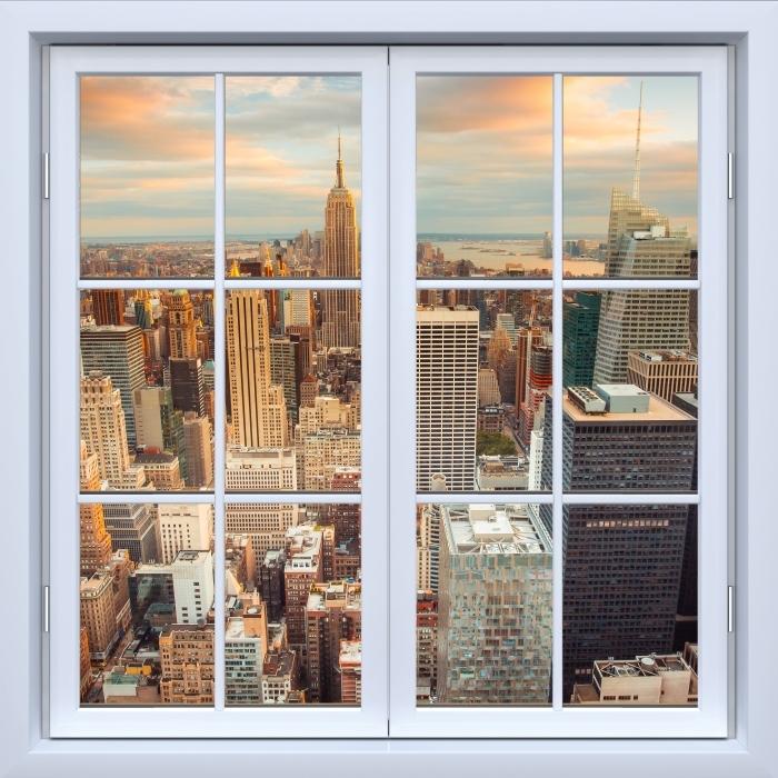 Papier peint vinyle Blanc fenêtre fermée - Vue sur le coucher du soleil à New York - La vue à travers la fenêtre