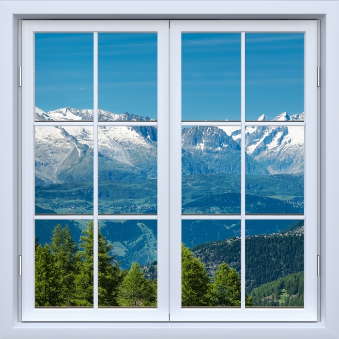 White closed window - Panorama of high mountains Vinyl Wall Mural - View through the window