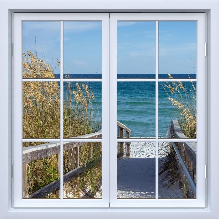 Papier peint vinyle Blanc fenêtre fermée - Dunes - La vue à travers la fenêtre