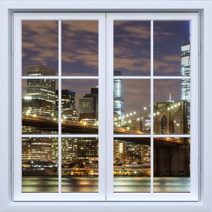 Fototapeta winylowa Okno białe zamknięte - Brooklyn Bridge - Widok przez okno