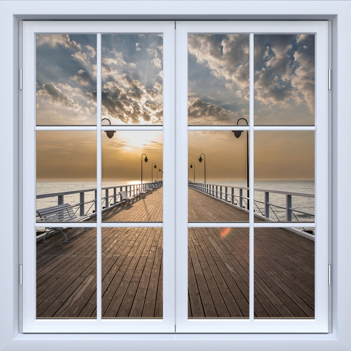 White closed window - Sunrise at the pier Vinyl Wall Mural - View through the window