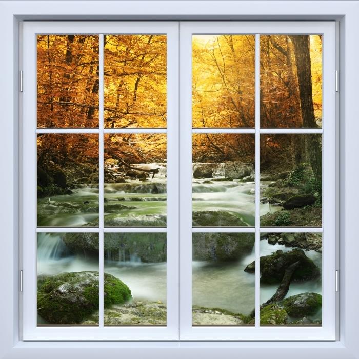 Vinyl-Fototapete Weiß Fenster geschlossen - Wald und Wasserfall - Blick durch das Fenster
