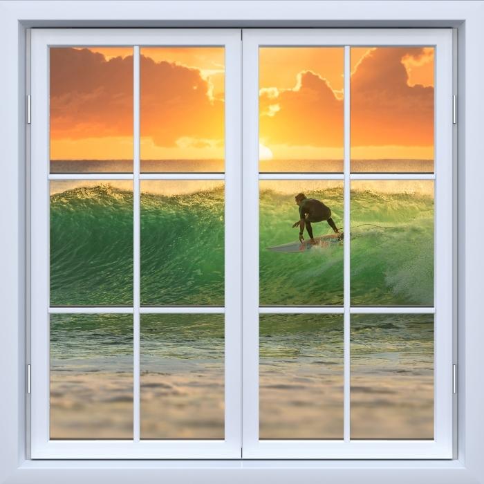 Papier peint vinyle Blanc fenêtre fermée - Surfer - La vue à travers la fenêtre