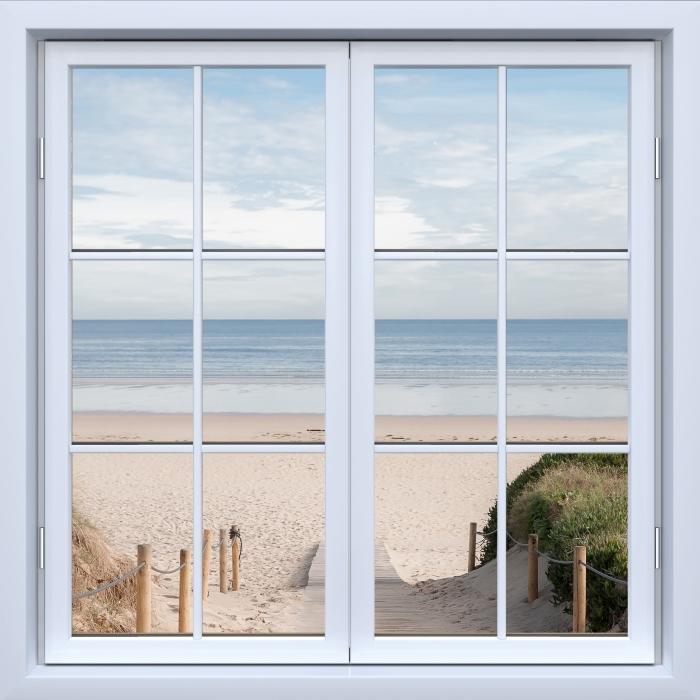 Mural de Parede em Vinil Branco Janela fechada - Praia e mar - Vista pela janela