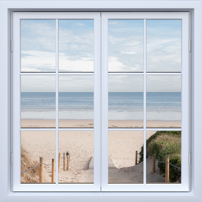 White Window closed - Beach and sea Vinyl Wall Mural - View through the window