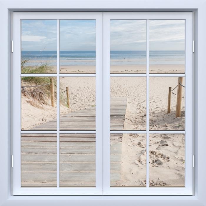 Fotomural Estándar Blanco ventana cerrada - Playa y mar - Vistas a través de la ventana