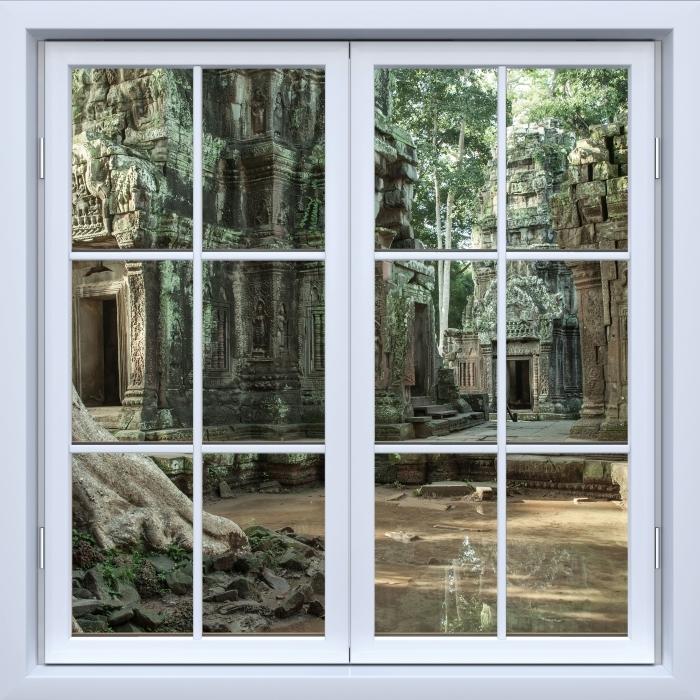 Vinyl-Fototapete Weiß geschlossen Fenster - Kambodscha - Blick durch das Fenster