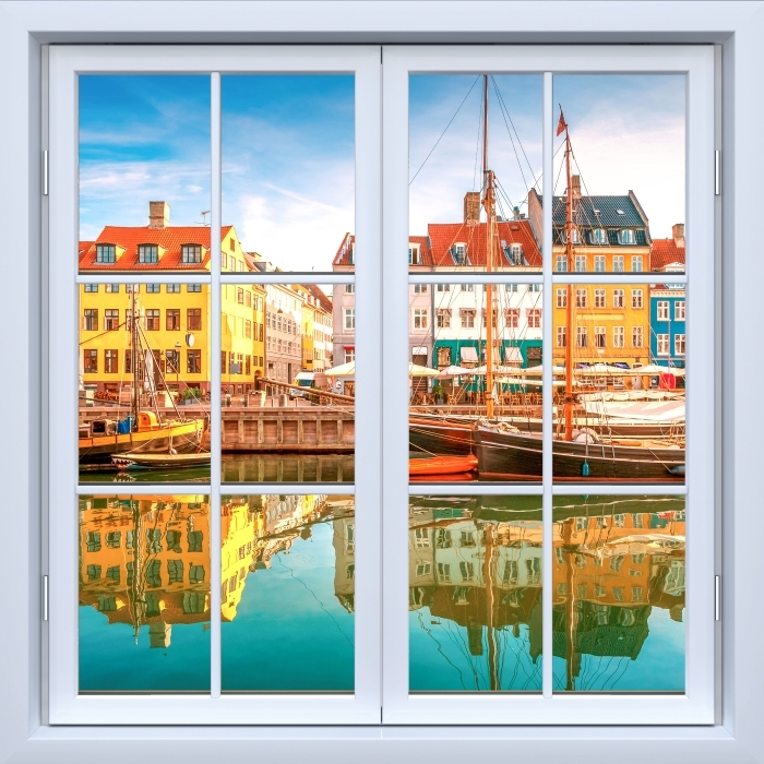 Fototapeta winylowa Okno białe zamknięte - Kopenhaga - Widok przez okno