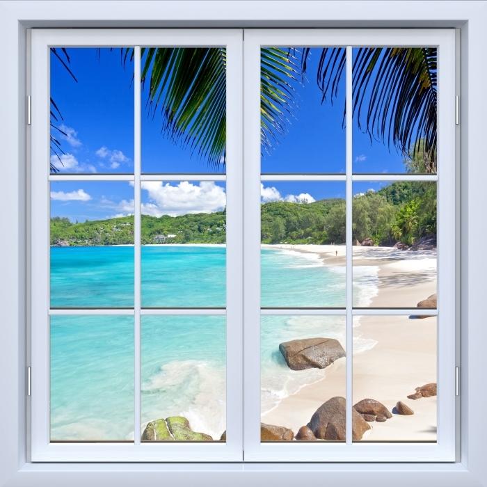 Vinyl Fotobehang White closed window - Tropical - Uitzicht door het raam