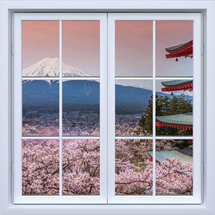 Papier peint vinyle Blanc fenêtre fermée - Fuji - La vue à travers la fenêtre