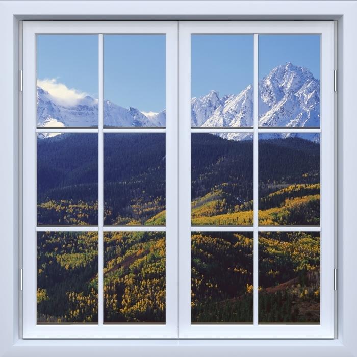 Papier peint vinyle Blanc fenêtre fermée - Wilson Peak. Colorado. - La vue à travers la fenêtre