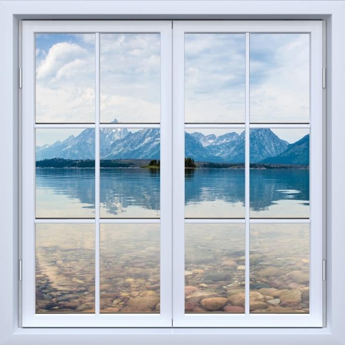 Papier peint vinyle Blanc fenêtre fermée - Parc national de Grand Teton - La vue à travers la fenêtre