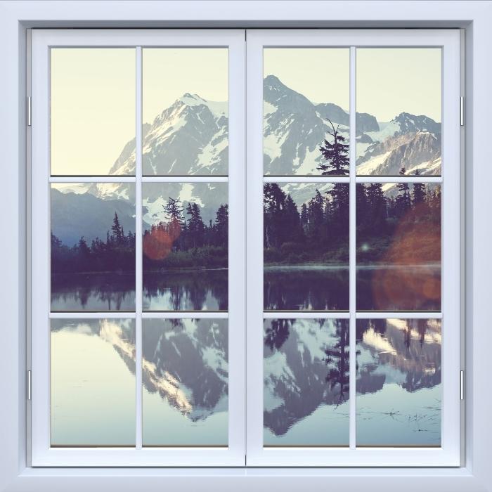 Papier peint vinyle Blanc fenêtre fermée - Lac -