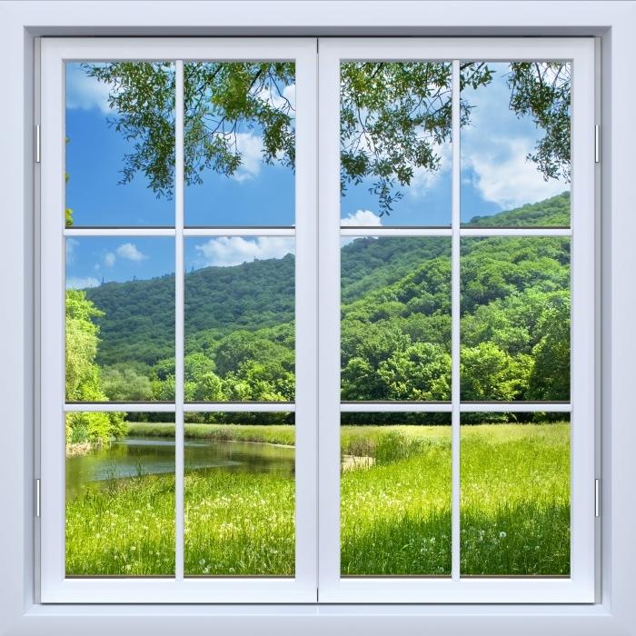 Fototapeta zmywalna Okno białe zamknięte - Rzeka - Widok przez okno