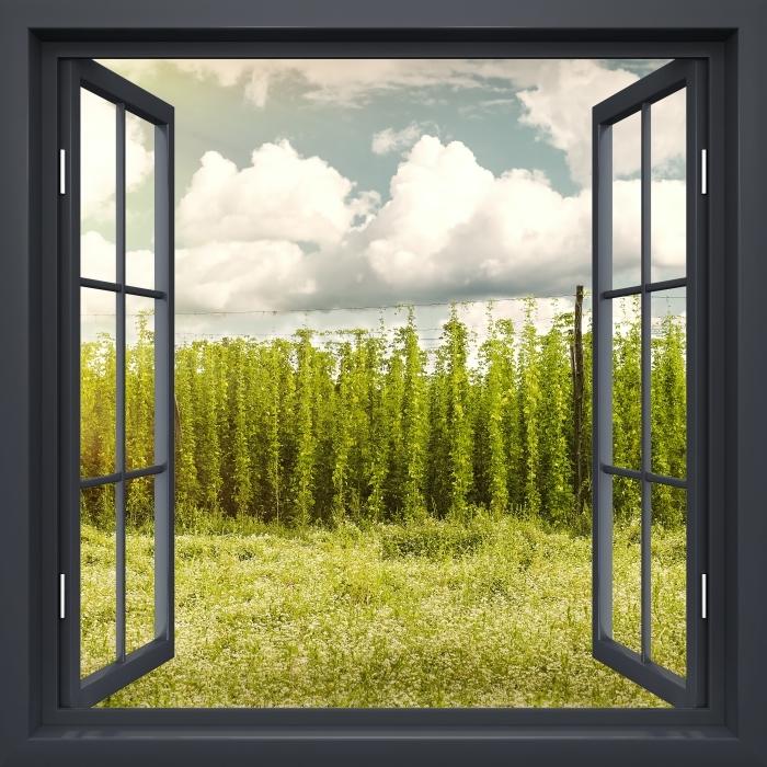 Papier peint vinyle Fenêtre Noire Ouverte - Plantation - La vue à travers la fenêtre