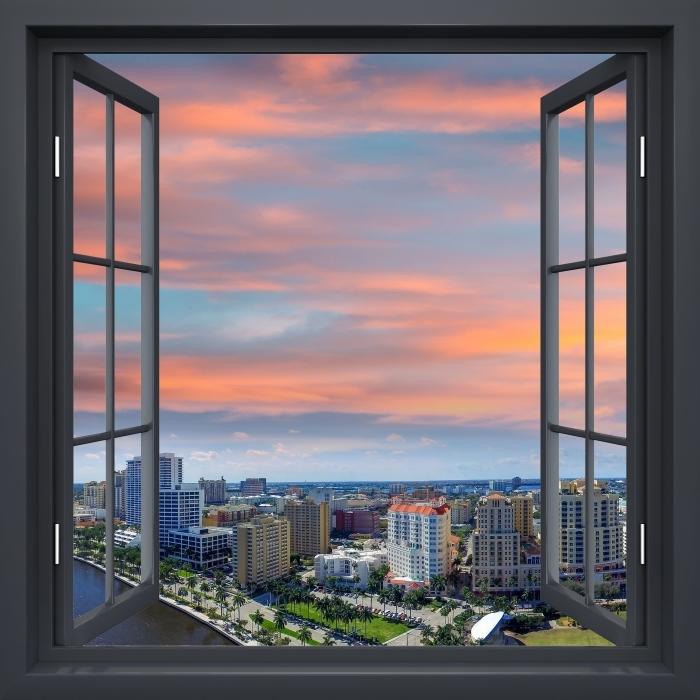 Vinyl-Fototapete Schwarz Fenster öffnen - Luftbild - Blick durch das Fenster