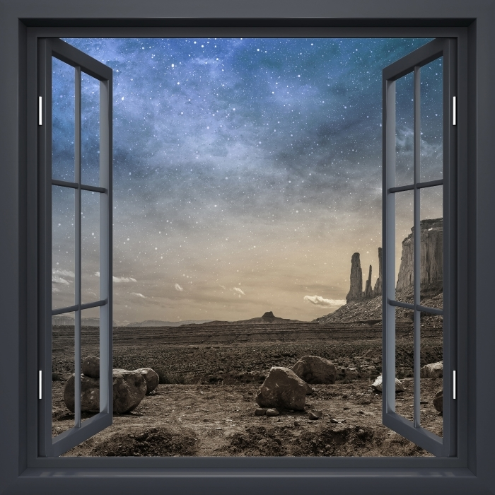 Papier peint vinyle Fenêtre Noire Ouverte - Désert Rocheux - La vue à travers la fenêtre