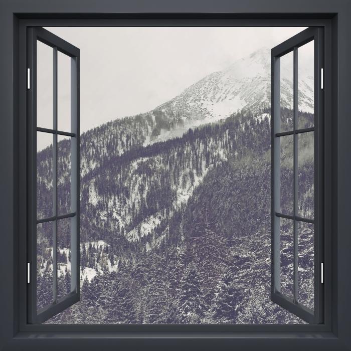 Fototapeta winylowa Okno czarne otwarte - Chmury - Widok przez okno