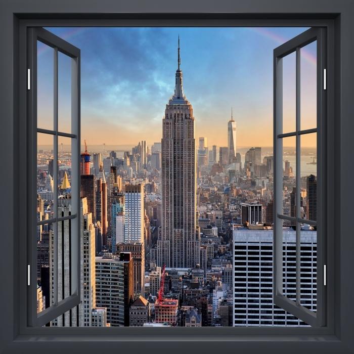 Papier peint vinyle Fenêtre Noire Ouverte - New-York - La vue à travers la fenêtre