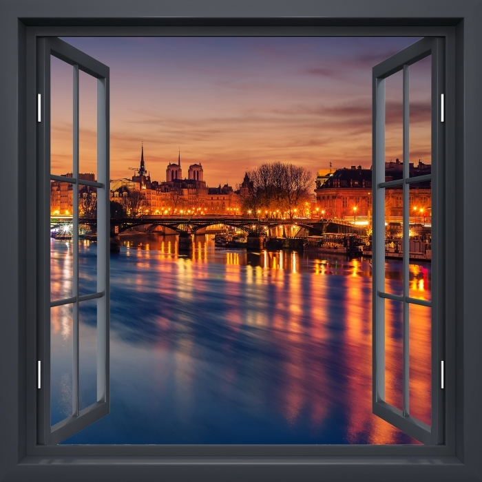 Black window open - Paris Vinyl Wall Mural - View through the window