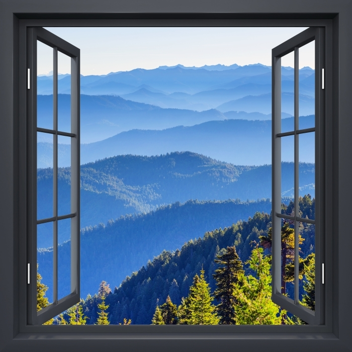 Fotomural Estándar Negro Ventana Abierta - Montaña - Vistas a través de la ventana