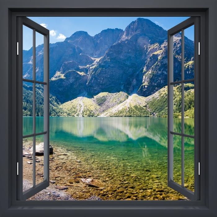 Vinyl-Fototapete Schwarz-Fenster geöffnet - Panorama Sea Eye - Blick durch das Fenster