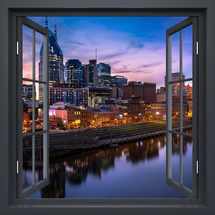 Fototapeta winylowa Okno czarne otwarte - Nashville Skyline - Widok przez okno